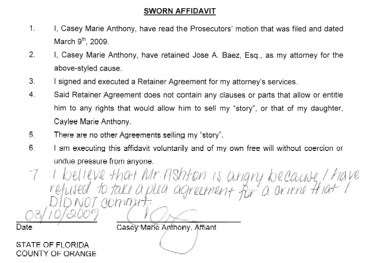 Caseys Sworn Statement  Example Of Sworn Statement