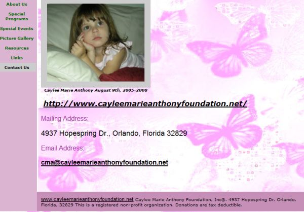 Caylee Marie Anthony foundation contact