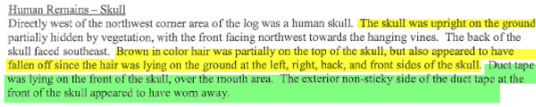 description of skull by Investigator Jennifer Welch page 42