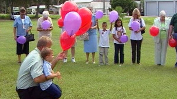 Haleigh's family release balloons on her birthday