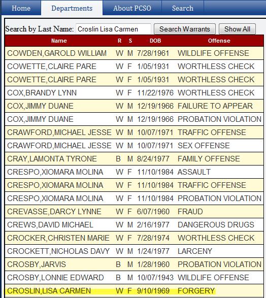 Lisa Croslin warrant