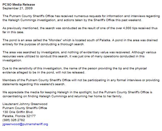 Putnam County Media release september 21